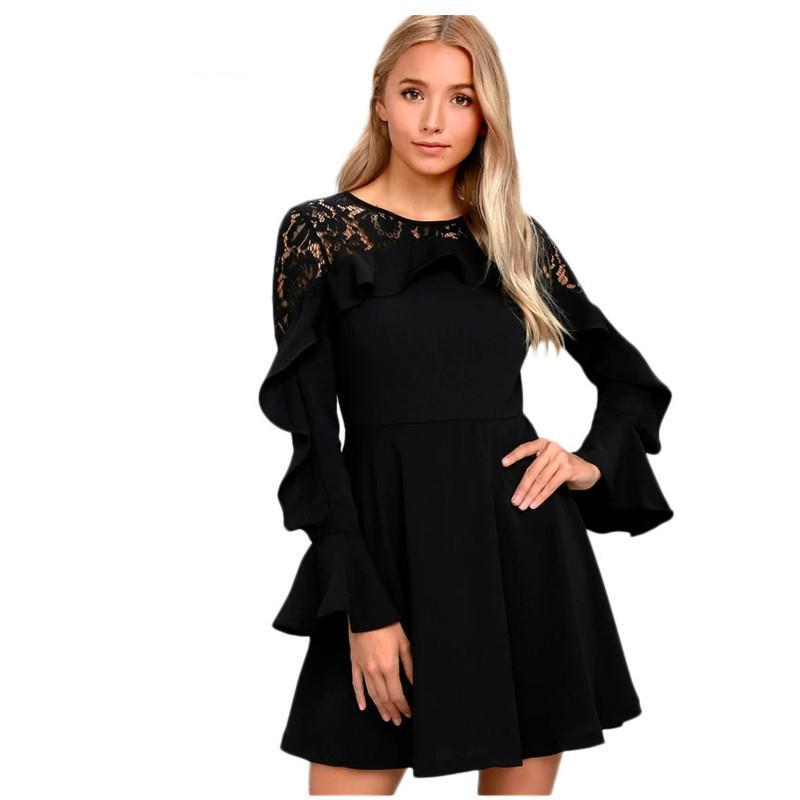 2019 Women Black Long Flare Sleeved Skater Dress Winter New O Neck Sexy  Sheer Lace Back Patchwork Mini Dresses Zipper Lc220164 From Xuxiaoniu2 dfab2df0f