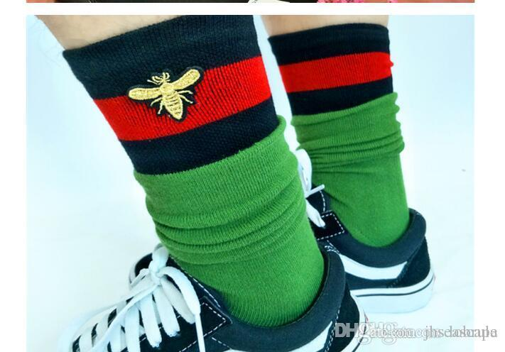 Fashion Bee Embroidery Socks Black Red Striped Middle Long Socks Casual Knee High Skateboard Cheerleaders Stocking