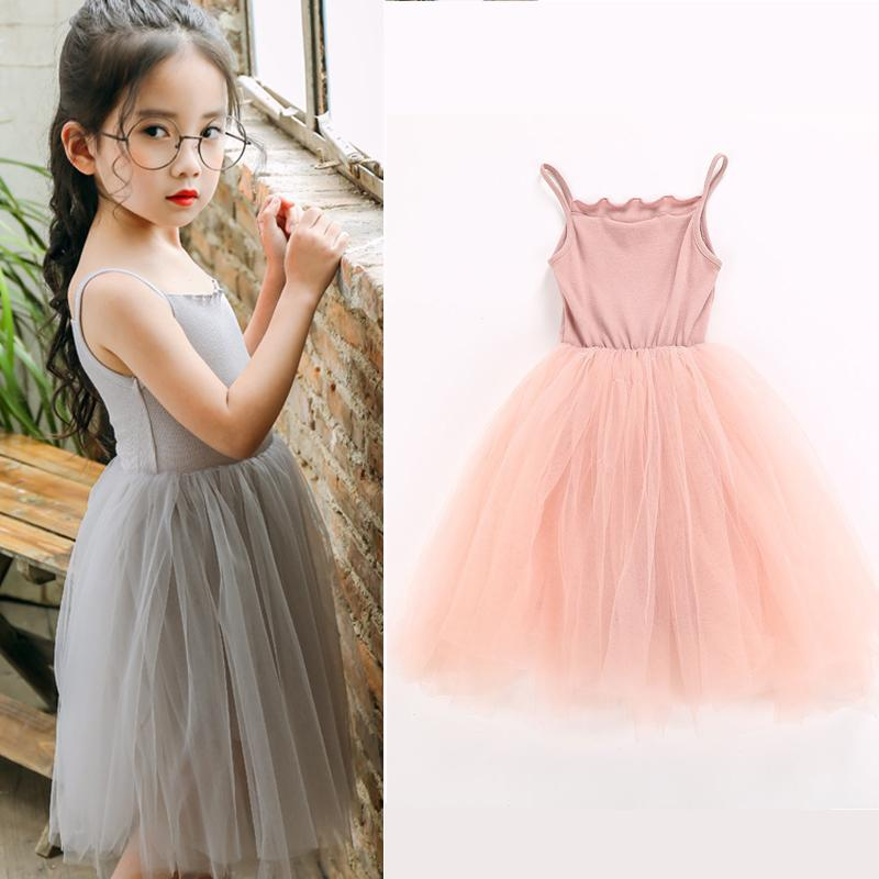 f1f9e5c9d44 2019 New Baby Girls Sling Ball Dresses Knit Cotton Mesh Vest Ballet Tutu  Dress Summer Girl Party Vestidos 2 9Years From Aile rabbit store