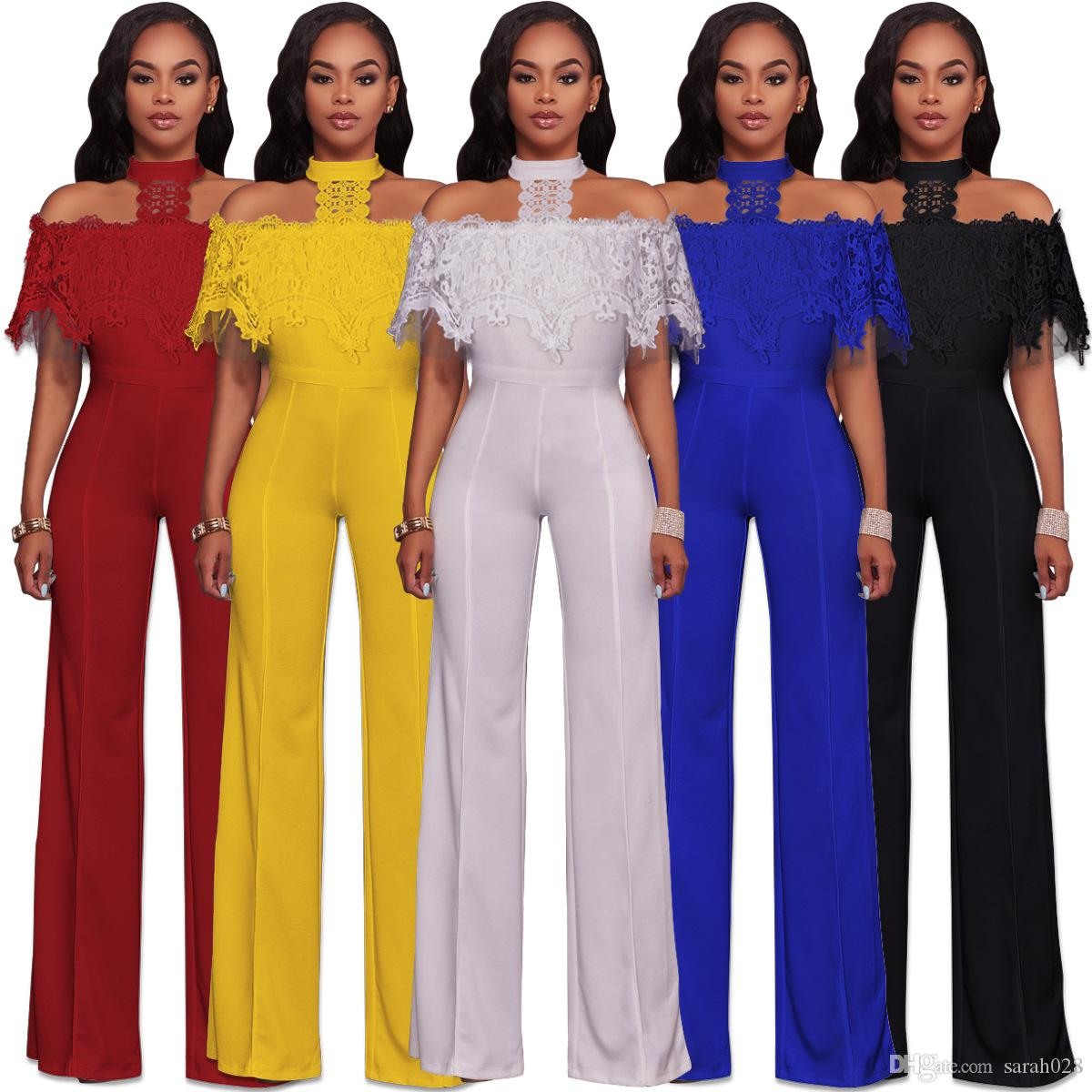 eae6e7db8203 2019 Yellow Black Blue White Red Sexy Halter Neck Lace Ruffles Details  Bodycon Jumpsuits Plus Size Woman Full Length Club Jumpsuit From Sarah028