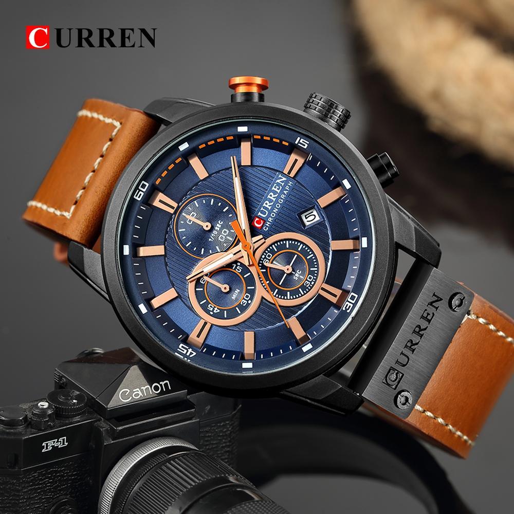2ca84742644 Compre Top Marca De Luxo CURREN 8291 Moda Pulseira De Couro De Quartzo Homens  Relógios Casuais Data De Negócios Masculino Relógios De Pulso Relógio Montre  ...