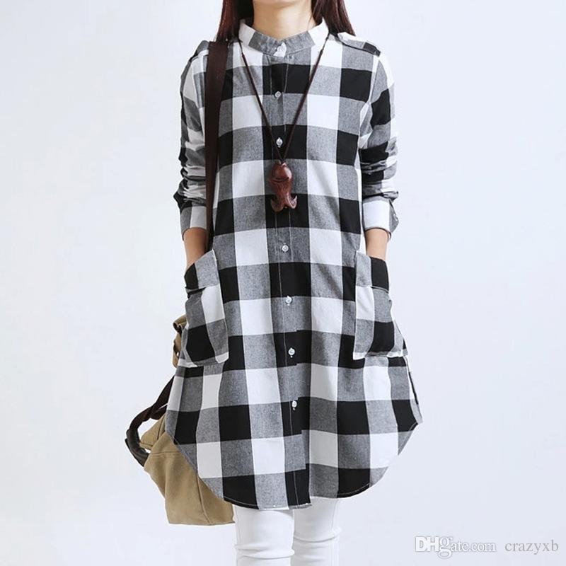 Las A Larga De Cuadros Algodón Compre Manga Camisa Mujeres qX5vSwf