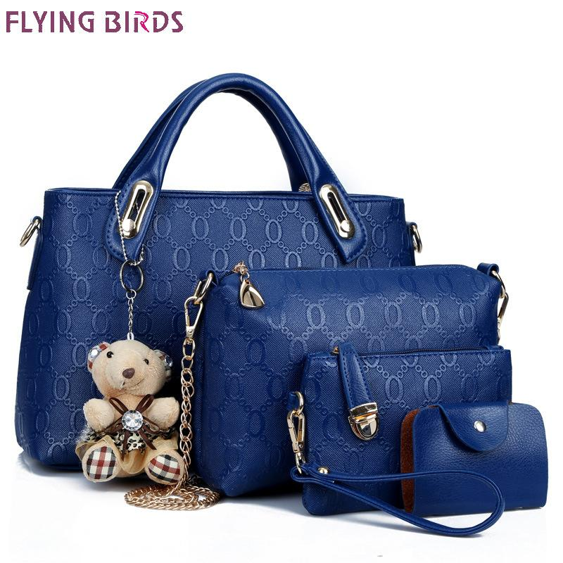 Flying Birds Women Leather Handbag Set Luxury Tote Women Bag Brands Bolsos  Pouch Messenger Bags Ladies Wallet Female Purse Cute Bags Purses For Women  From ... 0f9e1070361a7