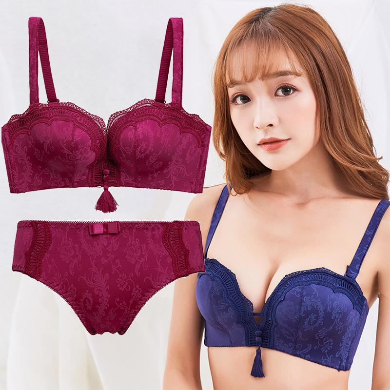 aceaa3b0ea 2019 Lace Sexy Seamless Push Up Bra Sets Underwear Women Thick Gather  Lingerie Ladies Floral Bra  Amp  Briefs Burgundy 32A 36B Navy Blue From  Clothesg090