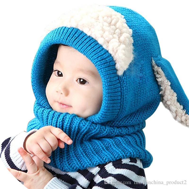 Baby Hand Knitted Hat With Scarf Children Lovely Dog Design Hats For 6Mos - 3T Years Kids Keep Warm Kids Crochet Cap
