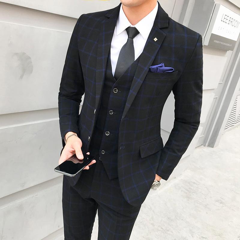 Acheter Ensemble De Costume Homme À Carreaux Vestes + Pantalons + Gilets  Grande Taille S 5XL Gris Bleu Rouge Peut Être Sélectionné Homme D affaires  Et Robe ... 21fd45a9937