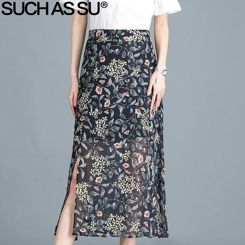 194c8c9cf Faldas de gasa de verano para mujer 2018 Nuevo Negro Azul Estampado Casual  Cintura alta Faldas largas de lápiz medio S-3XL Paquete femenino Falda de  ...