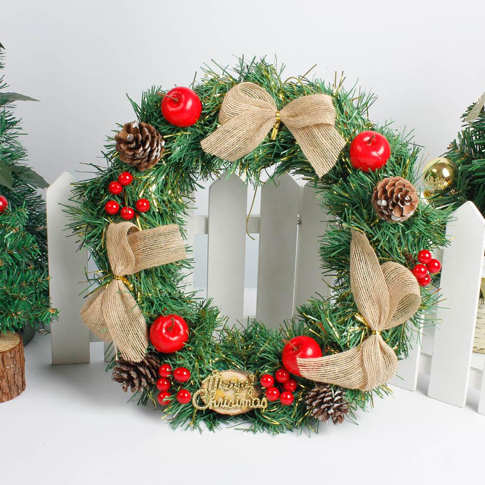 korean style diy christmas large wreath decoration door wall window ornament garland decoration red bowknot bells xmas gift christmas decorations for sale