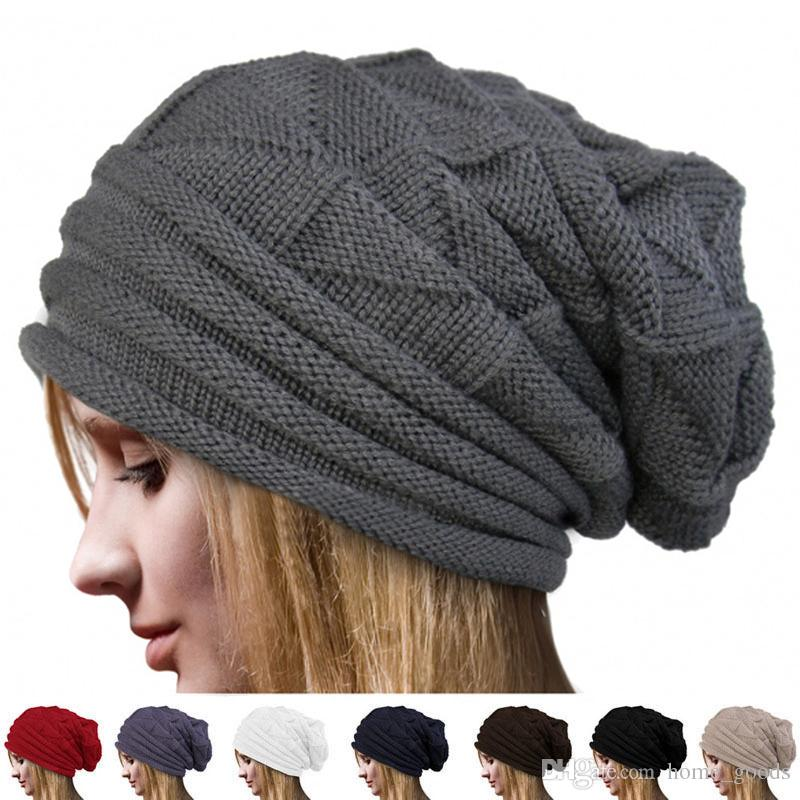 a58485e3260 Winter Men Women Knitted Caps Oversize Baggy Slouchy Skullies Beanie Warm  Autumn Outdoor Ski Hat Unisex Solid Color Knit Hip-hop Street Hats Winter  Knitted ...