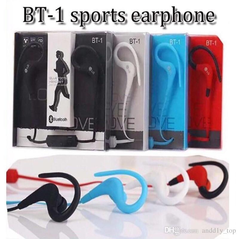 BT-1 Tour Auricular Bluetooth Sport Earhook Earbuds Estéreo Over-Ear Deportes inalámbricos Banda para el cuello Auriculares Auriculares con micrófono con paquete