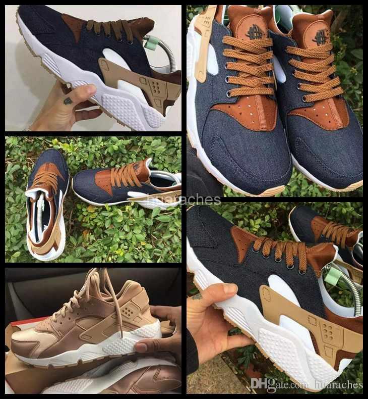 buy popular 7be0f ca3ae Acquista 2017 Air Huarache I Scarpe Da Corsa Uomo Donna, Oro Rosa Blu Navy Sneakers  Donna Tripla Uomo Huaraches 1 Scarpe Da Ginnastica Huraches Scarpe ...