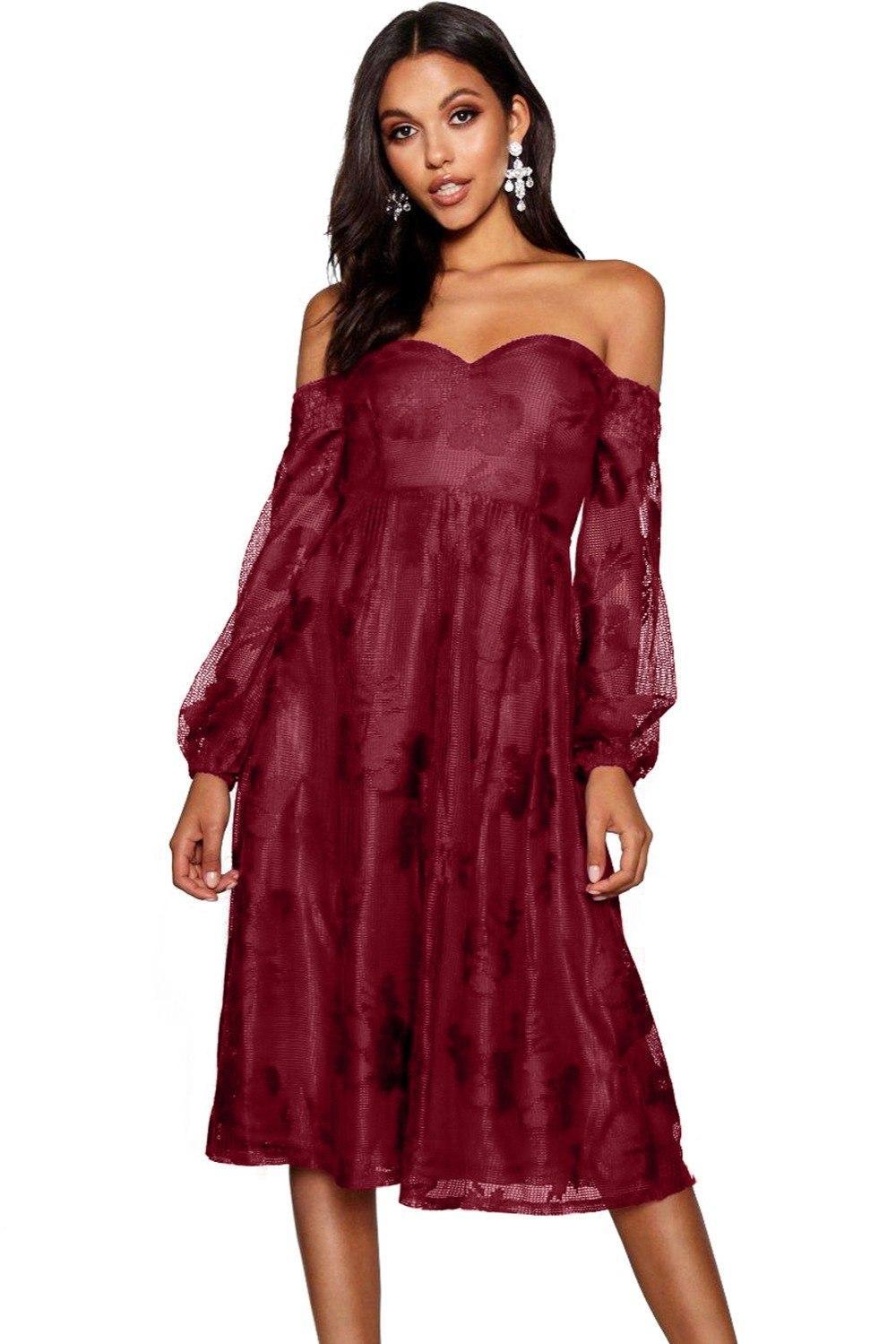 Acquista Nuovo Vestito Elegante Donna Manica Lunga Borgogna Bardot Ricamato  Garza Off Spalla Vestito Da Partito Vestidos De Festa LC610434 A  32.16 Dal  ... 4543d11dd59
