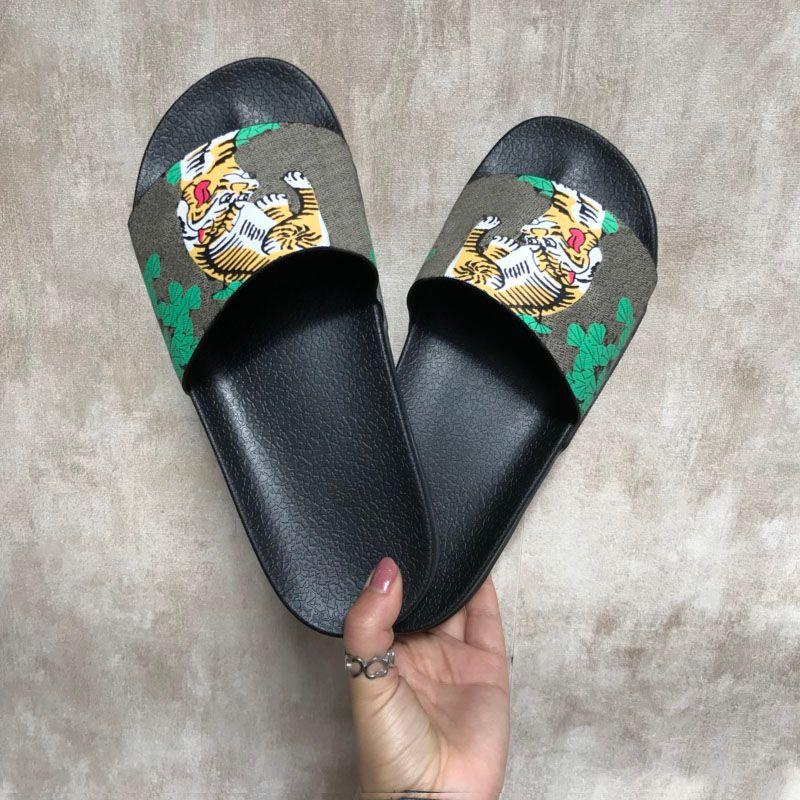 60b6384e94cbd7 Chinelos elegantes luxo tigres moda sandálias de luxo homens mulheres  chinelos de gato de tigre design verão chinelos huaraches flip