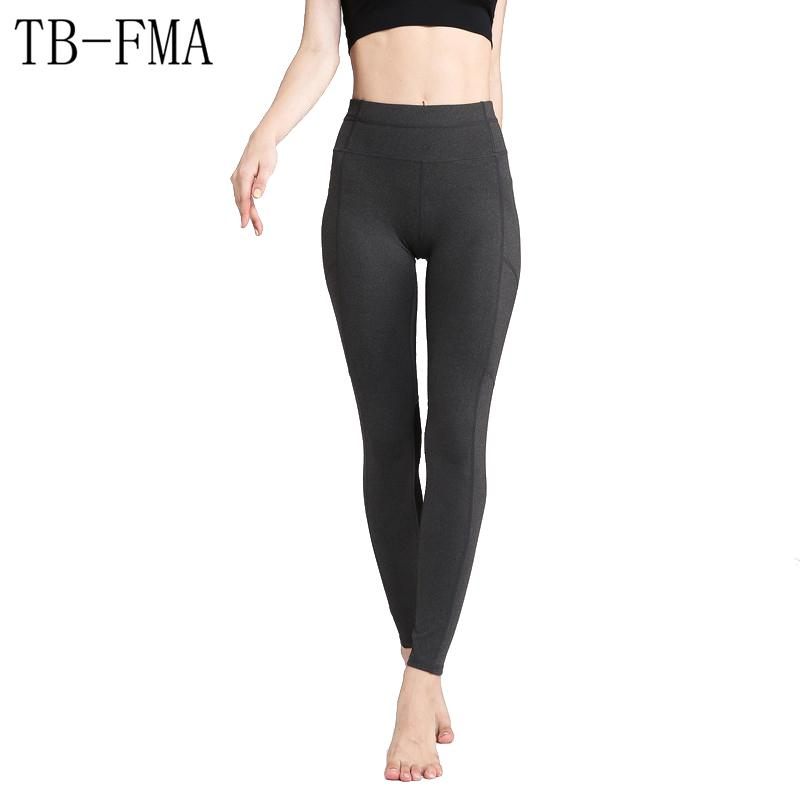 66f247cc387ec8 2019 Women Yoga Pants Top Quality High Elastic Waist Solid Thick Material  Exercise Stretch Fabric Sports Skinny Leggings Yoga Pants From Jaokui, ...