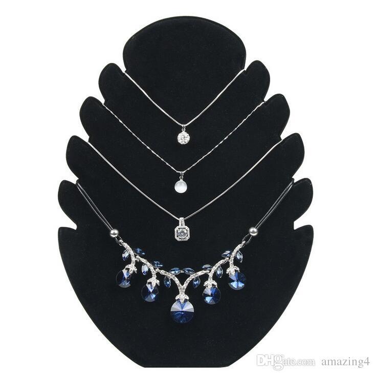 Necklace Pendant Chain Bracelet Display Stand Holder Tray Velvet