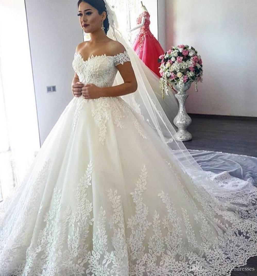 A Line Wedding Dress.Designer A Line Wedding Dresses Sweetheart Neckline Off Shoulder Cap Sleeve Chapel Train Lace Wedding Gowns Bridal Dresses Custom Made