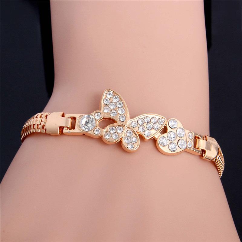 SHUANGR золото цвет Stellux австрийский хрусталь бабочка и сердце браслет для женщин свадьба JewelryTH2862
