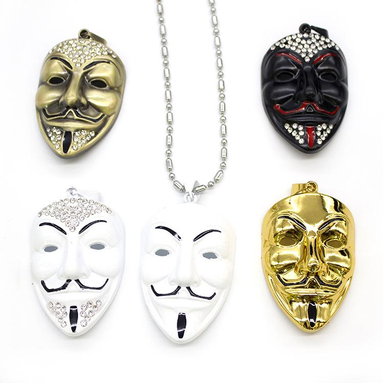 Wholesale movie jewelry v for vendetta anonymous mask exaggerated wholesale movie jewelry v for vendetta anonymous mask exaggerated hacker charms necklaces pendants for men gift necklace movie jewelry v necklaces charms aloadofball Gallery