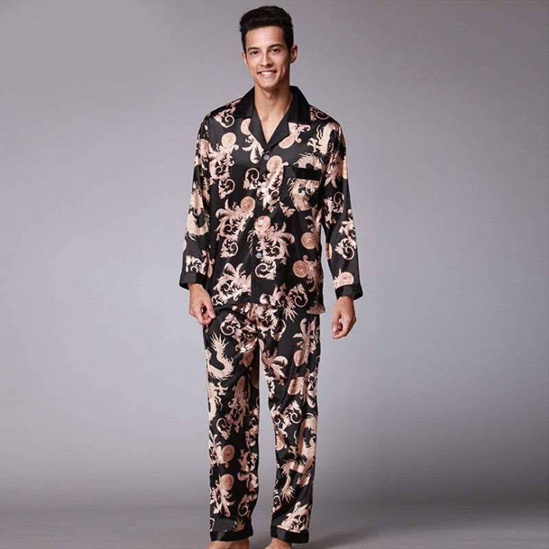 26400619b3 2019 Men S Stain Silk Pajama Set Print Dragon Men Pijamas Silk Sleepwear Men  Sexy Modern Style Soft Cozy Satin Nightgown Summer From Bunnier