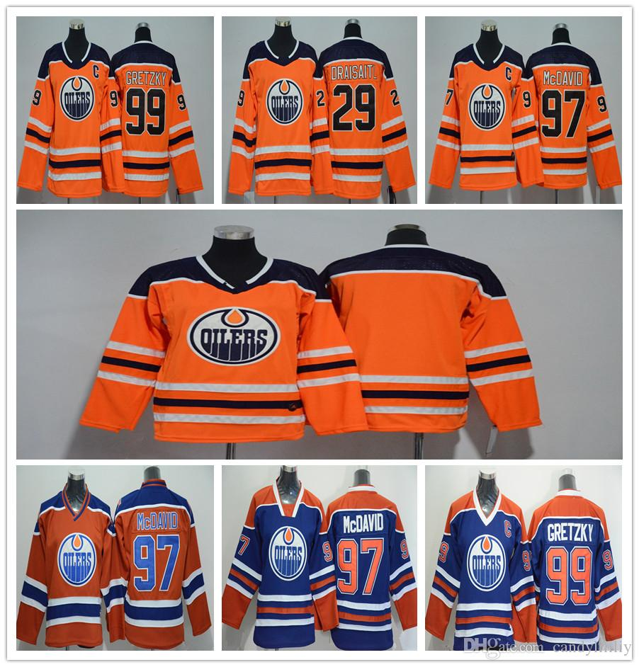Youth Edmonton Oilers Jerseys 29 Leon Draisaitl 97 Connor McDavid 99 Wayne  Gretzky Cheap Classic Oliers Stitched Kids Jerseys Wholsale UK 2019 From ... 1f8a46a5a