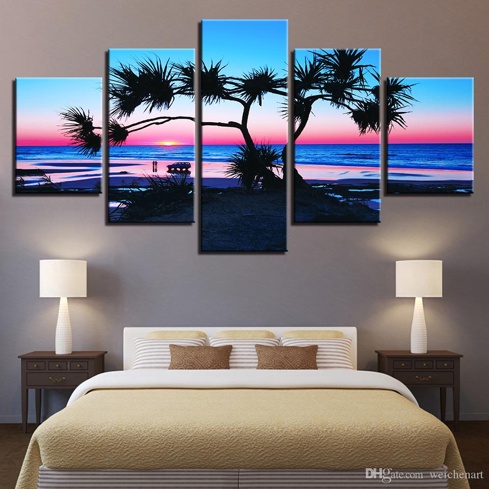 Canvas Painting Home Decor HD Prints Sea Poster Wall Art 5 Pieces Sunrise Beach Tree Seascape Pictures For Living Room Framework