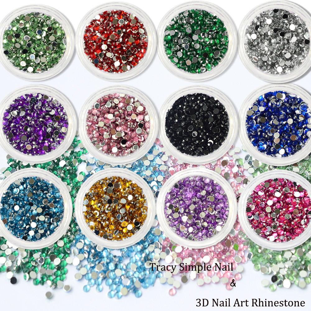 cf1b9778b8 1 Box Glitter Nail Decoration Round Colorful Rhinestone Flat Back Nail Art  Studs Shinny 3D Crystal Manicure Glitters TR01-12