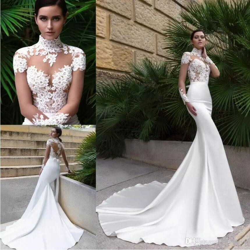 48eaf48987 Crystal Design 2018 New High Neck Sexy Mermaid Wedding Dresses See Through  Back Sheer Long Sleeve Fitted Cheap Bridal Gowns with Sweep Train