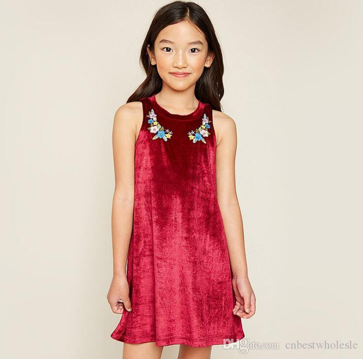 2019 Christmas Big Kids Girls Embroidery Floral Dresses Teenager