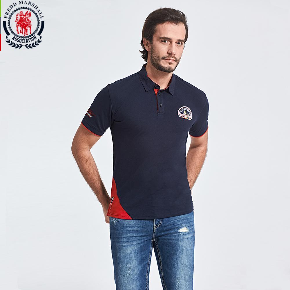 2019 Fredd Marshall 2018 Spring New Polo Shirt Men Solid Printed