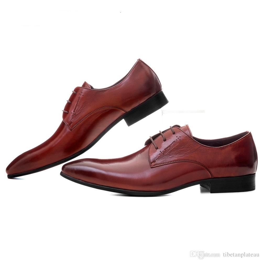 ae8e950ff0331d Mode schwarz / braun Tan Kleid Schuhe Mann Casual Business Schuhe aus  echtem Leder spitz Zehen Herren Hochzeitsschuh