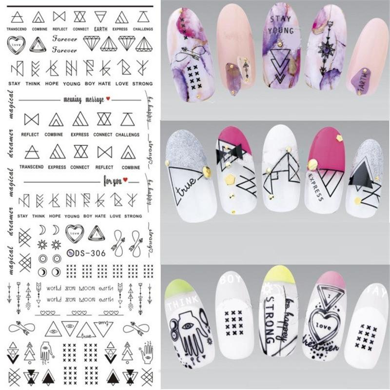 1 Sheet Letter Nail Art Water Decals Geometric Figure Nail Manicure Transfer Stickers DS306