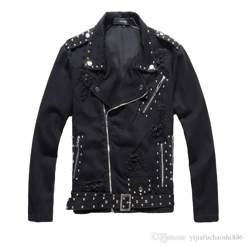brand Men black motorcycle denim jacket male Korean version of the self-cultivation trend personality rivet jacket social denim jacket Coats