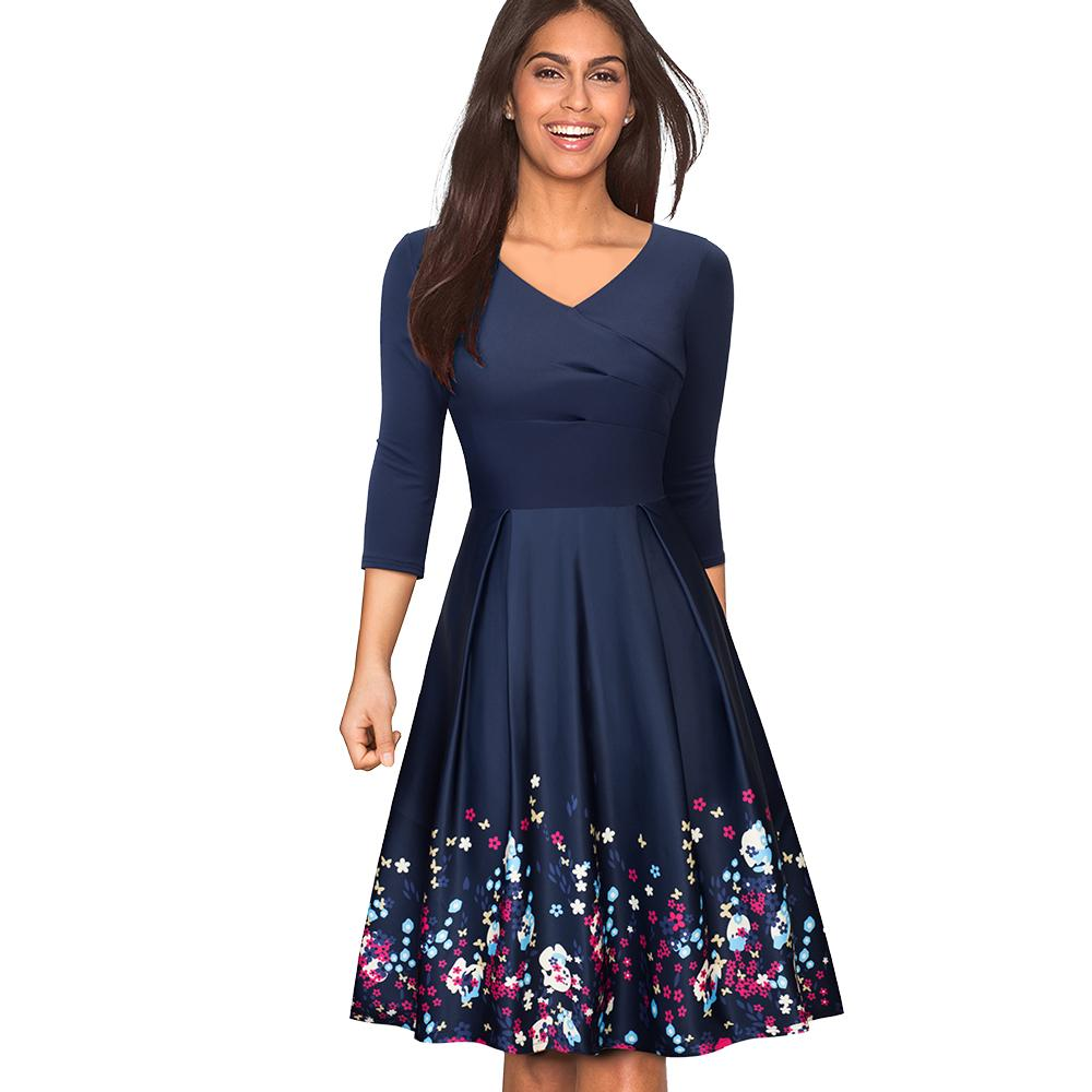 Women Floral Print Dark Blue Casual Party Business Skater Dress ... 26cf746c074e