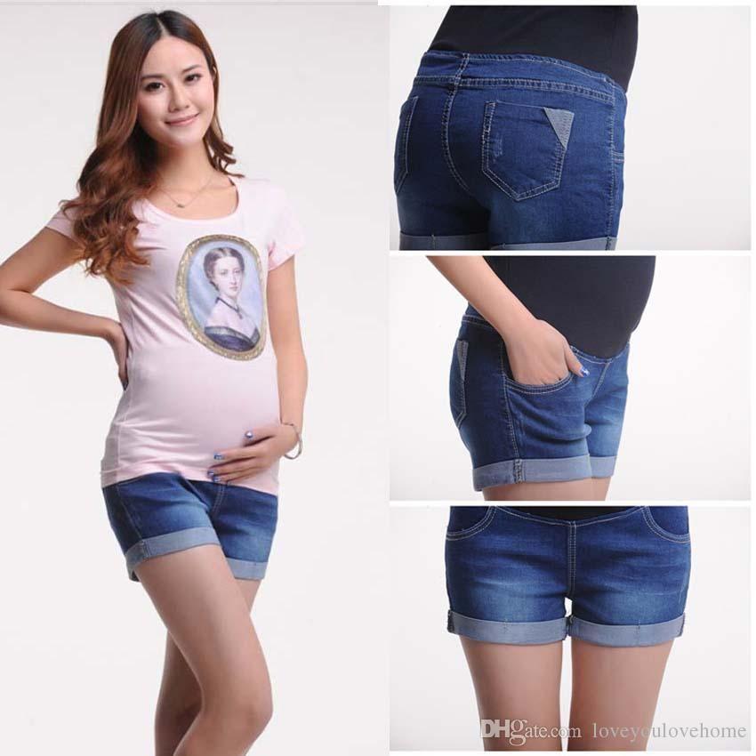 0ced2a53e Compre Pantalones Cortos De Maternidad Del Verano Del Dril De Algodón Del  Tamaño Grande Para Las Mujeres Embarazadas Que Arropan La Ropa Del Embarazo  ...