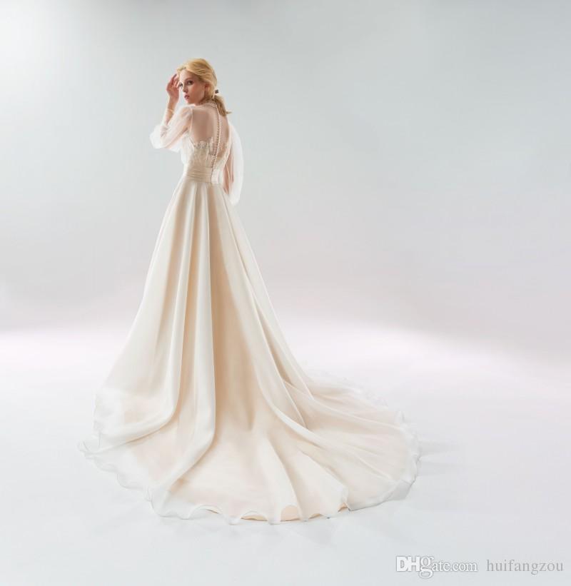 Papilio 2018 manches longues robes de mariée Sheer Neck élégant balayage robes de mariée train jardin dentelle appliques robe de mariée