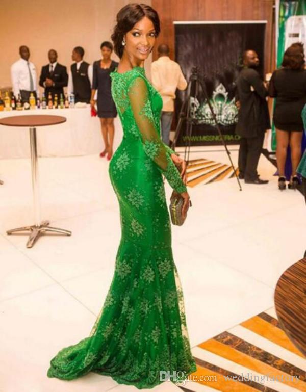 Popular Emerald Green Mermaid Evening Dresses Nigerian Lace Styles Sheer Neck Illusion Long Sleeves Zipper up Red Carpet Gowns Sweep Train