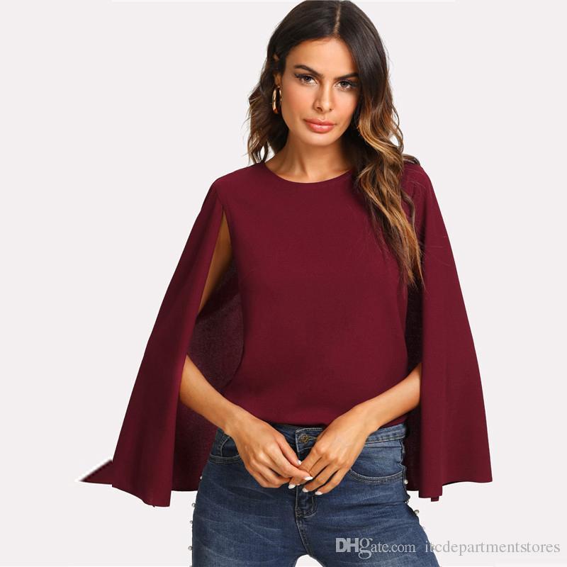2019 Keyhole Back Burgundy Blouse Women Round Neck Cloak Sleeve