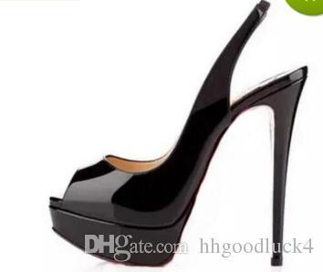best website 6d1e1 456b9 Luxury Brand Red Bottom High Heels,Nude/Black Patent Leather Peep-toes  Sandals,Slingback 14cm High Heel Shoes Back Strap Platform Pumps