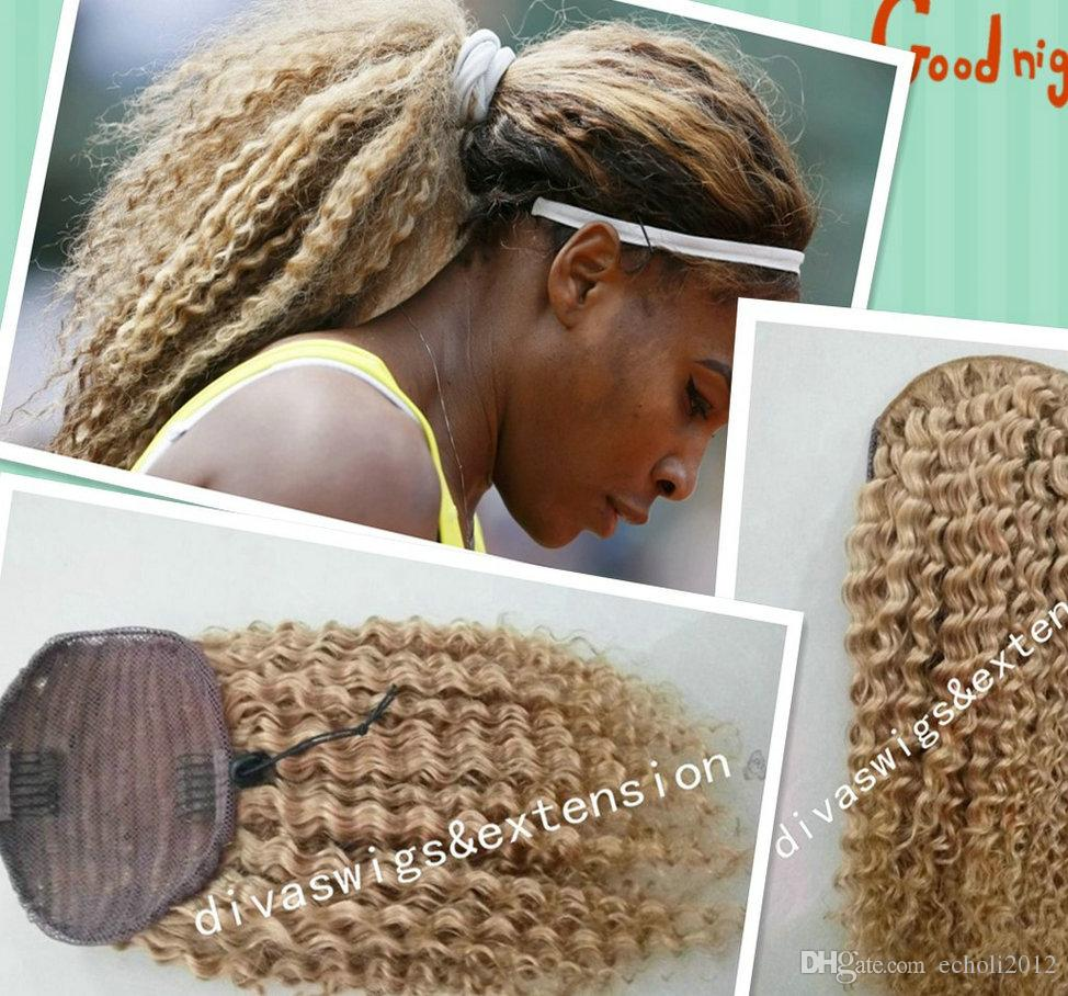 Honey Blonde Kinky curly human hair ponytail extension African clip in drawstring blond Pony tail hairpiece 140g virgin ponytail
