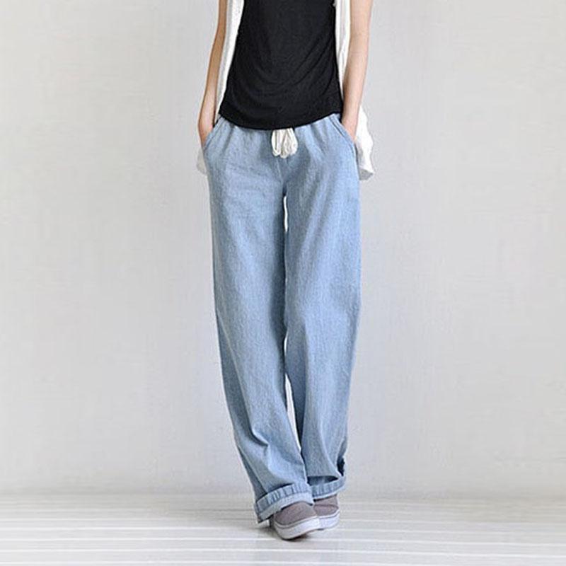 Compre Pantalones Vaqueros Anchos Flojos De La Cintura Alta De La Moda De  Las Mujeres Pantalones Vaqueros Amplios De La Pierna De La Cintura Elástica  ... 78c917bb6eee
