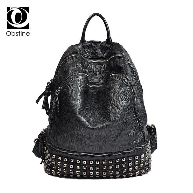 Fashion PU Leather Rivet Backpack Women Large Capacity Ladies White  Backpacks School Bags For Girls Black Zipper Bagpack Female Book Bags  Herschel Backpacks ... 87eaffc1dd