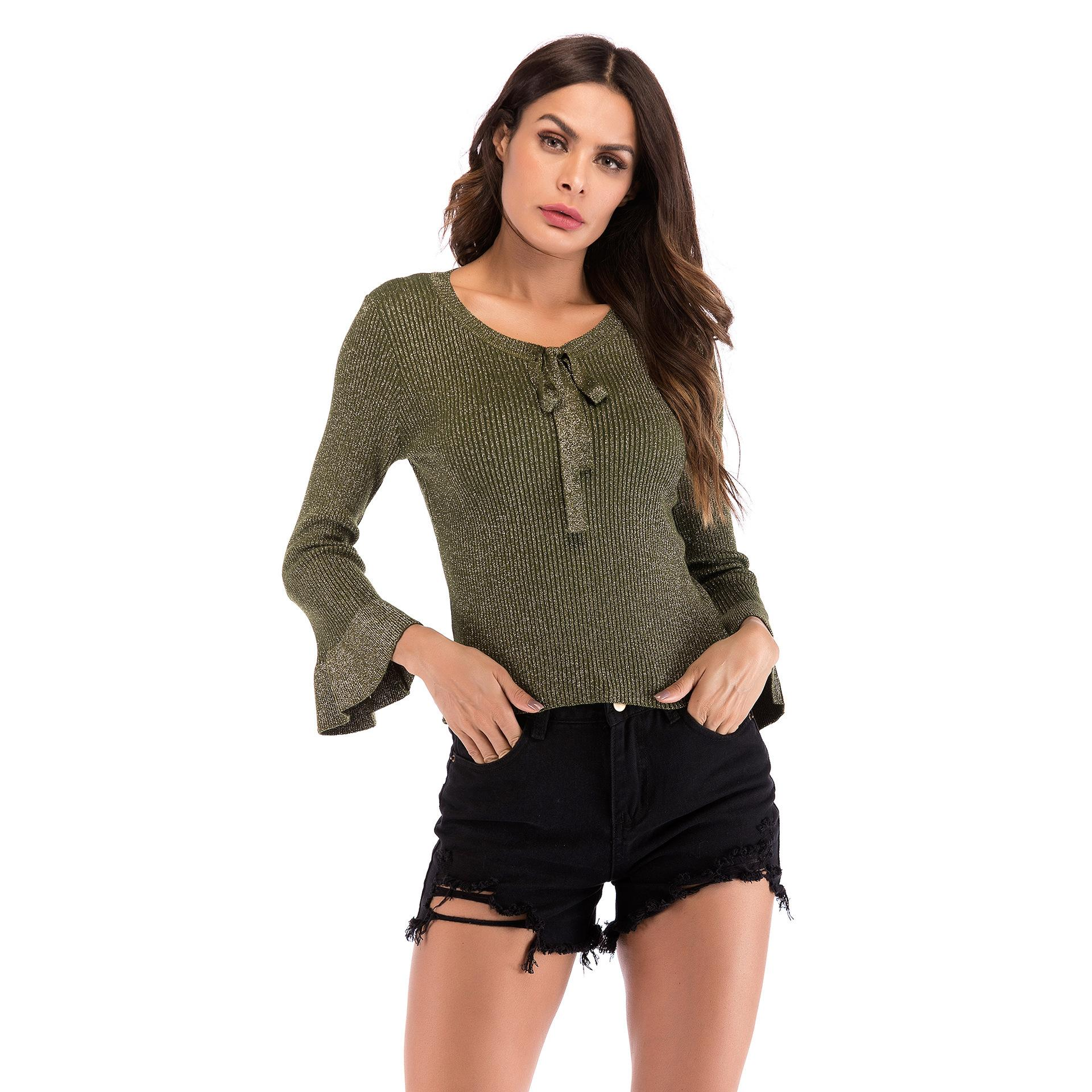 2018 Casual Women Pullover Knitted Sweaters Bow V Neck Long Sleeve ... 4a4956b1f