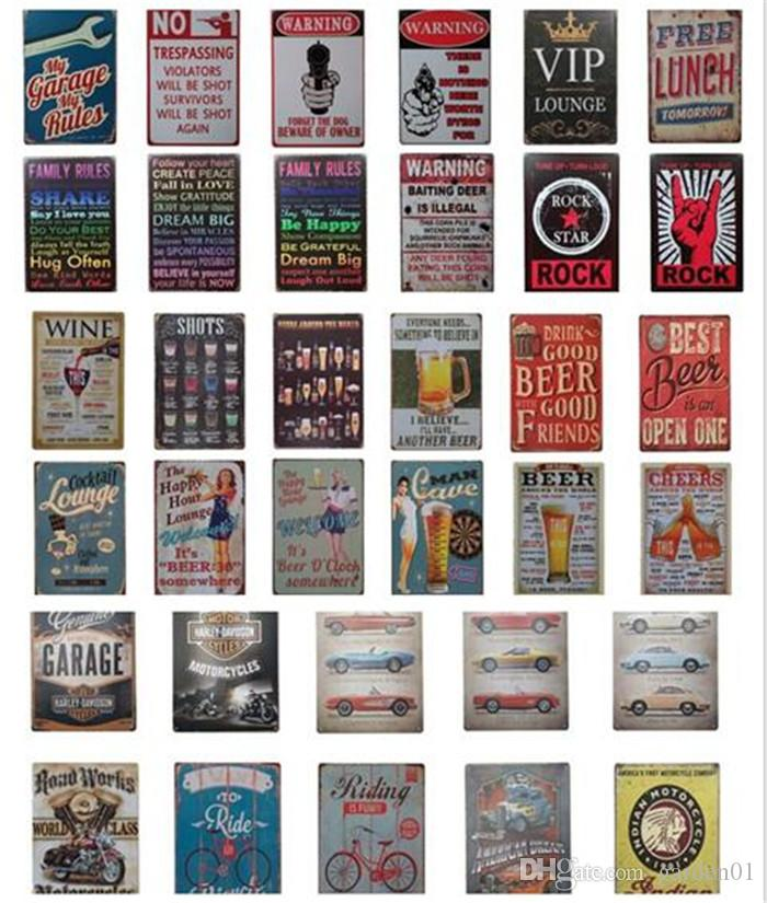 20pcs Retro Plate Metal different themes beer Motor Vintage Craft Tin Sign Retro Metal Painting Poster Bar Pub Wall Art G236