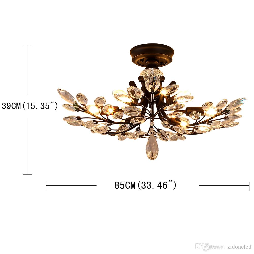 American country style led chandelier light fixtures iron crystal ceiling lamp 8 heads black chandelier indoor lighting