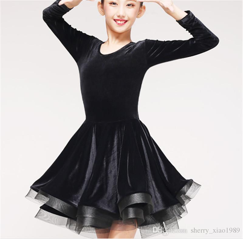 9dcb89c37bc4 2019 New Children Kids Girl Latin Dance Dress Black Long Sleeve Velvet  Chacha Tango Ballroom Costumes Practice Dance Dress Competition Clothing  From ...