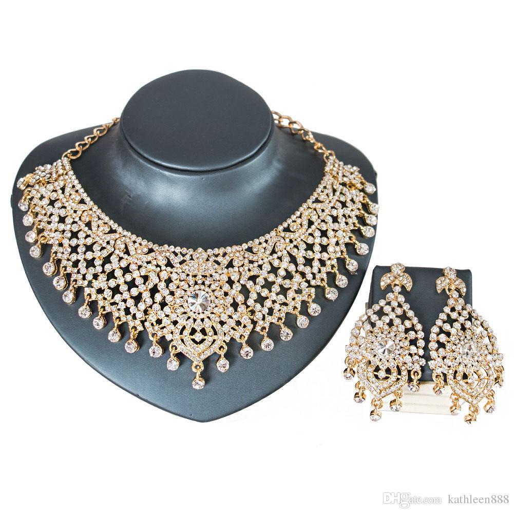 2018 LAN PALACE boda africana de color oro collar de cristal austriaco y pendientes joyería india joyería