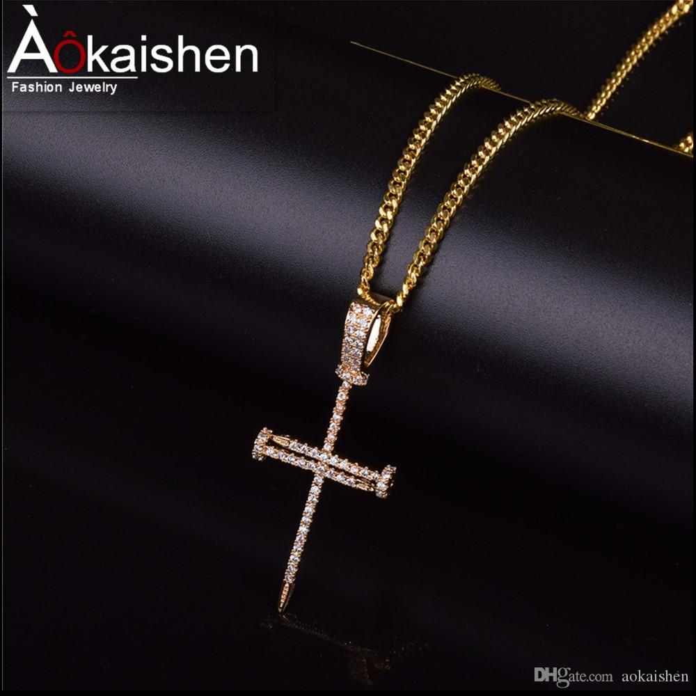 Wholesale Nail Cross Pendant Necklace Hip Hop Jewelry Hot Seller Men Women S  AAA Cubic Zircon For Rope Chain For Drop Shipping Diamond Pendant Necklace  Gold ... 4ff22a9ba