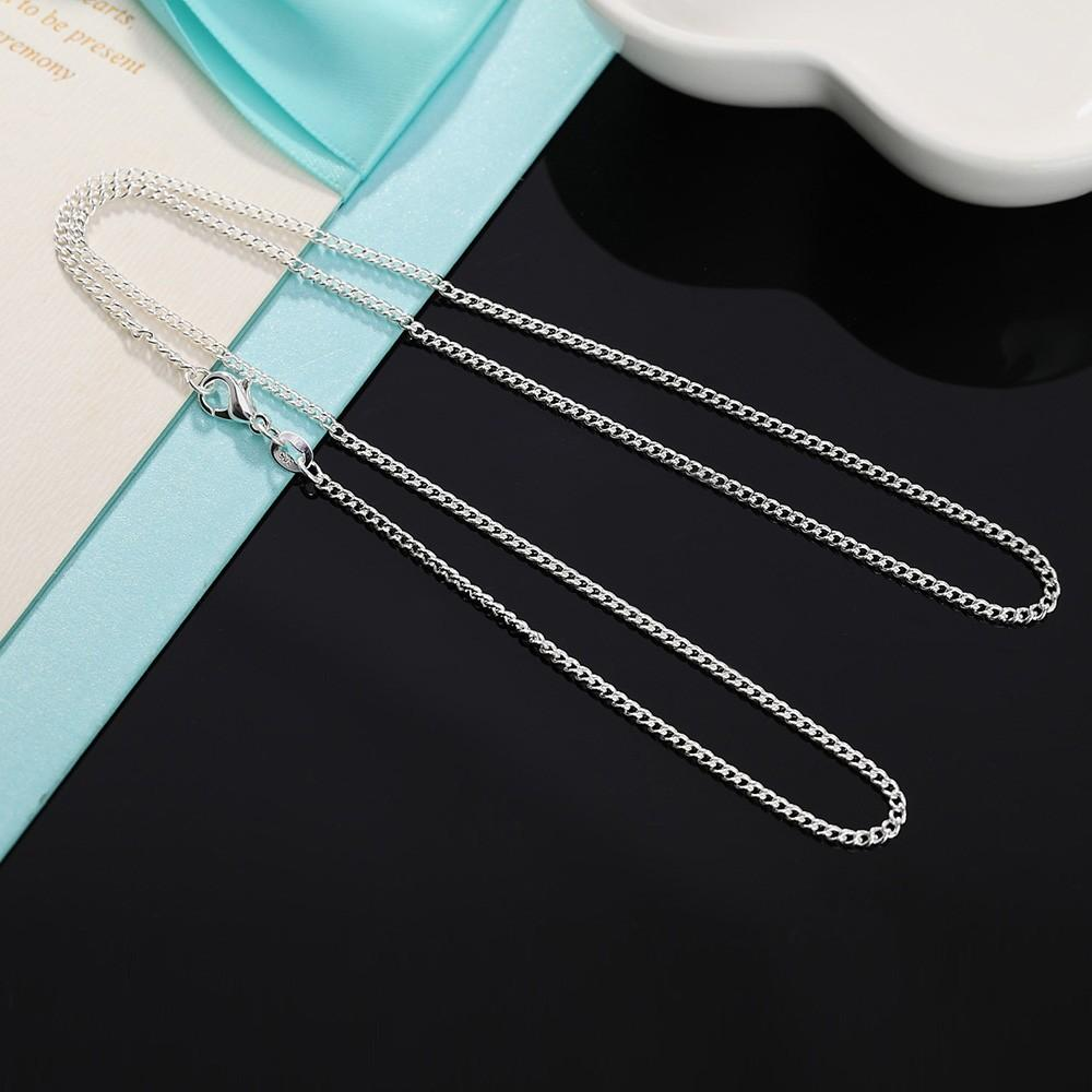 2019 16 24 Slim Thin 925 Stamp Silver Plated Side Curb Chain Choker Necklaces For Women Girl Jewelry Kolye Collare Collier Ketting From Yuijin