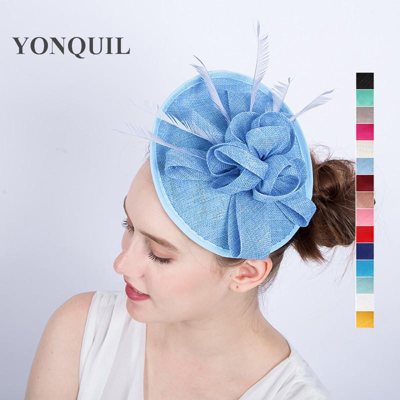 New Arrival Creative DIY Floral Party Fascinators Hat Base With Feather  Adorn Wedding Hat Base Headband Women Rayal Ascot SYF125 Hat Party Games  Hat Party ... 55aab5c68f0