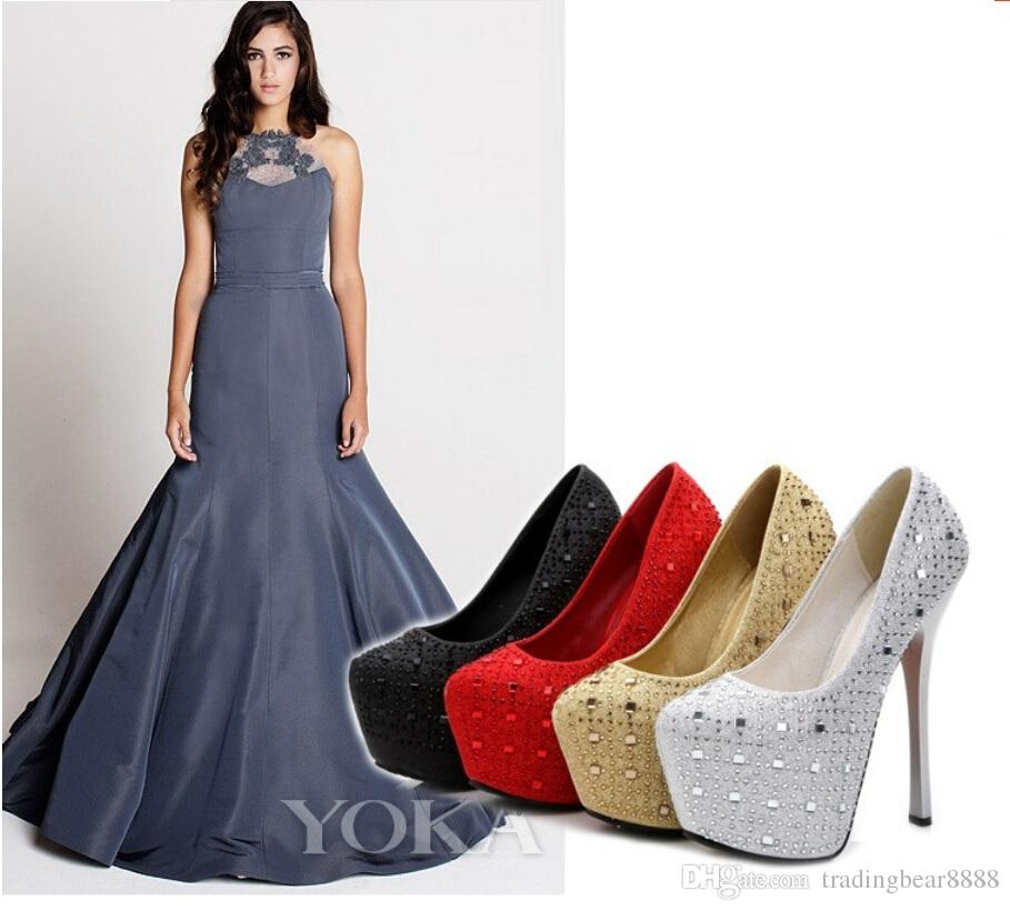 New 16 cm high with club red diamond wedding shoe spring shallow mouth waterproof Taiwan round head thin root package mail women's shoes